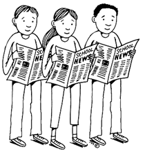 Clip art of people reading newspapers