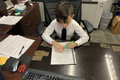 Pictured student CJ Lane the Principal for the day