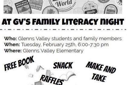 Tuesday, February 25th Glenns Valley Literacy Night