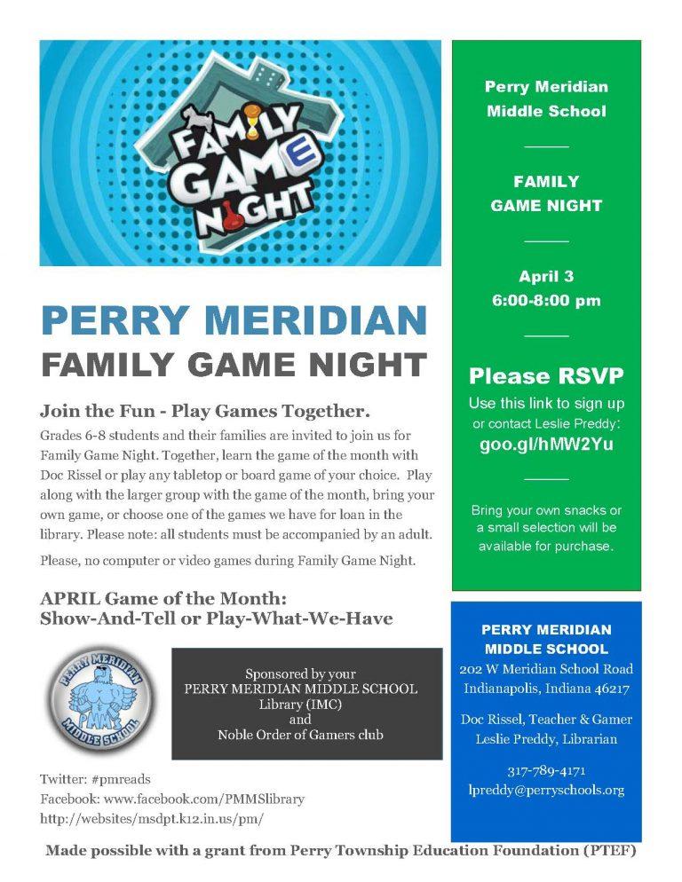 Invite-FamGameNight-April | Perry Meridian 6th Grade Academy