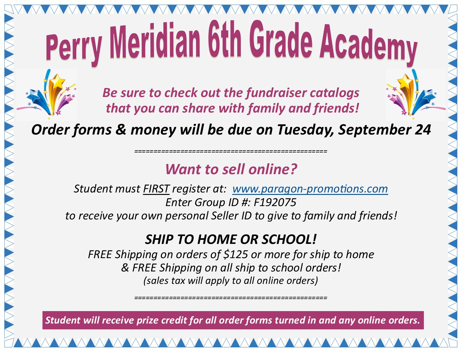 Fundraiser Information! | Perry Meridian 6th Grade Academy