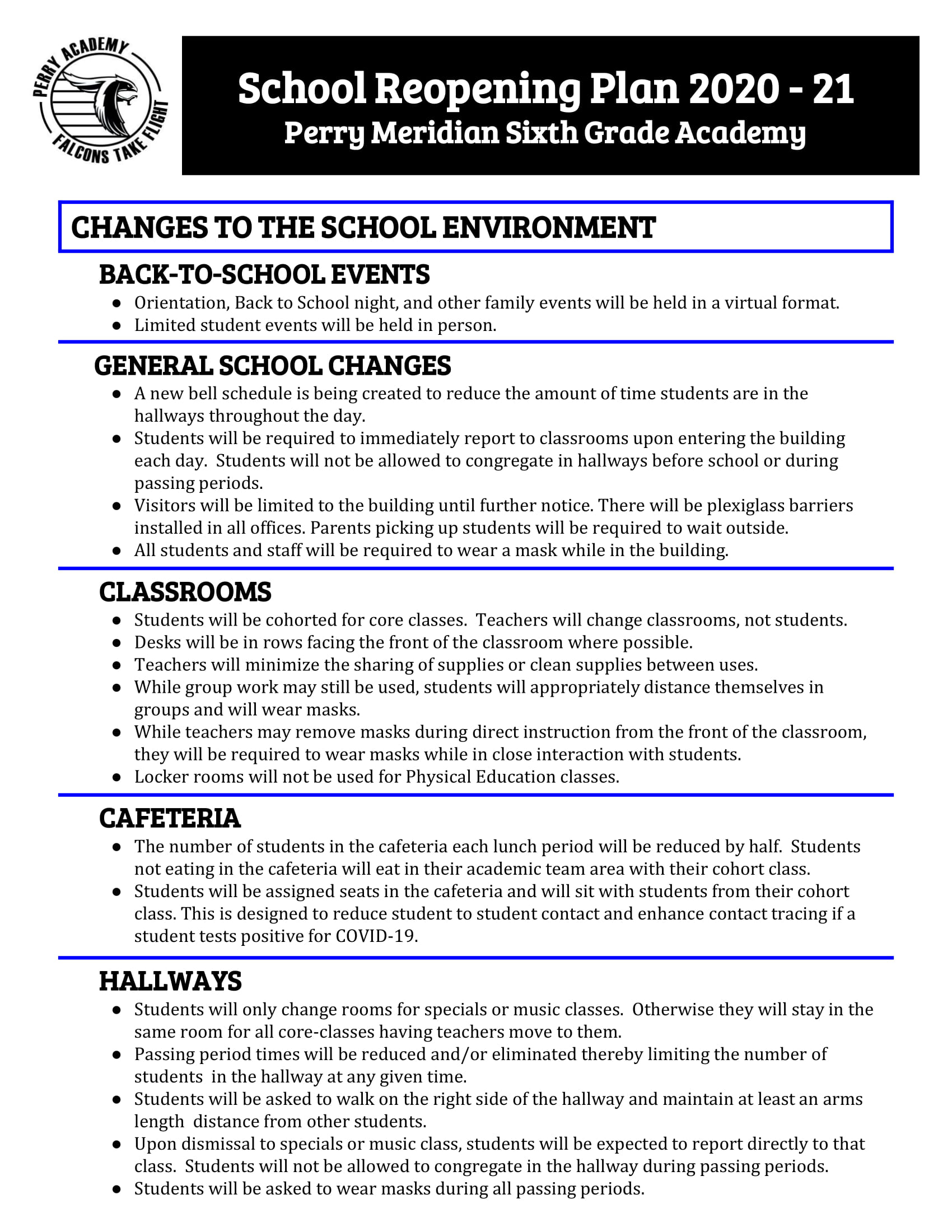 Classroom Reopening Plan | Perry Meridian 6th Grade Academy