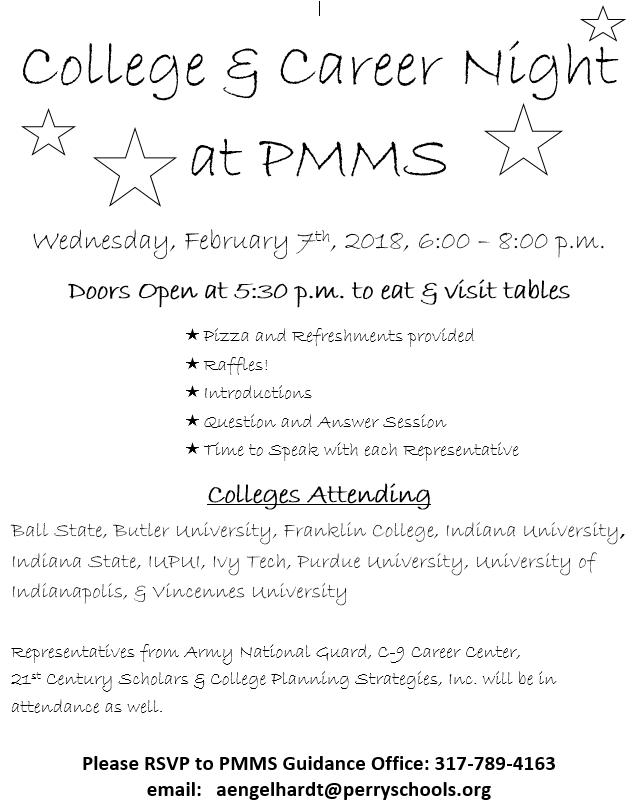 college career night is feb 7 perry meridian middle school