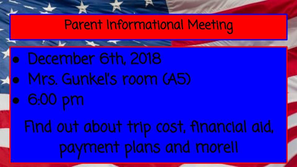 Dc Trip Parent Info Meeting Thursday 126 6pm Perry Meridian