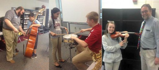 """5th Graders """"Try-on"""" Band and Orchestra Instruments"""