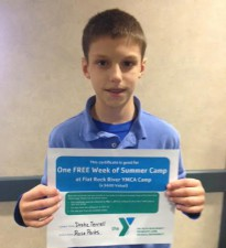 Awarded a Free Week at the YMCA Flat Rock Summer Camp