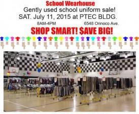 School Wearhouse Annual Gently Used Uniform Sale