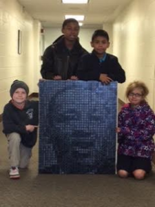 MLK Portrait Completed with Students