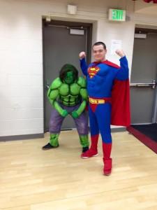Superheroes Superman and Hulk