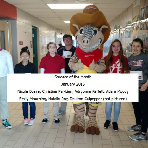 Southport Middle announces the Texas Roadhouse Students of the Month for January