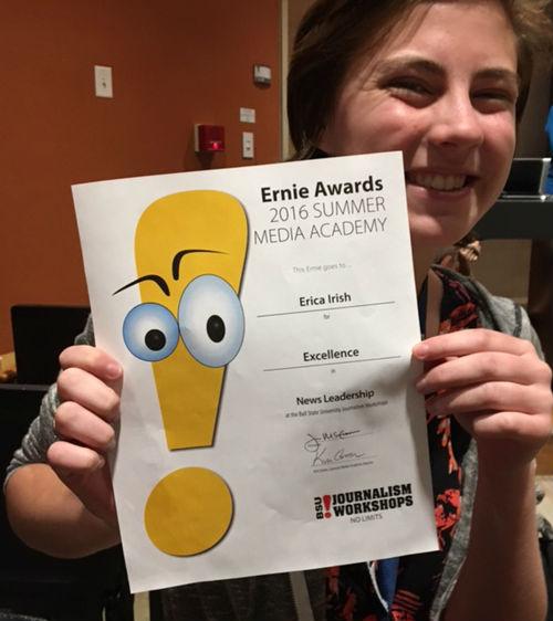 Erica Irish with 2016 BSU Summer Award