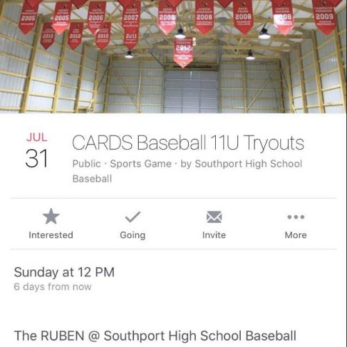 Cards Baseball Tryouts