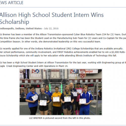 PMHS Student Wins Allison Scholarship