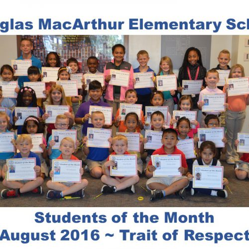 MacArthur Elementary Students of the Month for August 2016