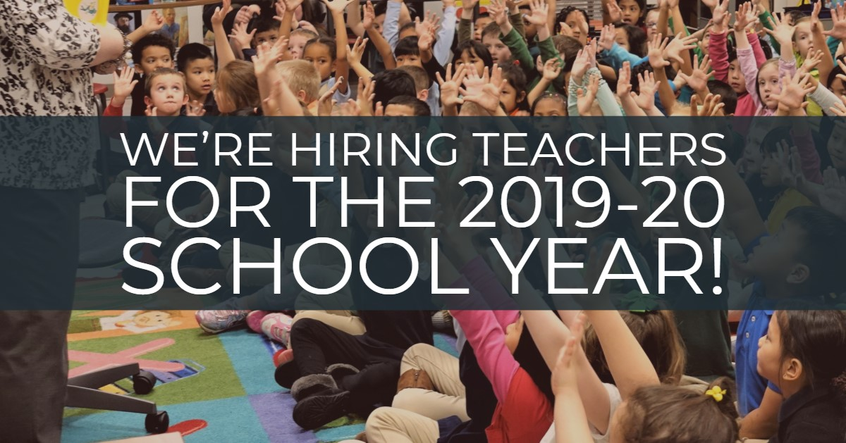 "Kids raising their hands, banner across the screen saying ""we're hiring teachers for the 2019-20 school year."""