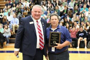Superintendent Pat Mapes and Doug Wampler, 2019 District Teacher of the Year