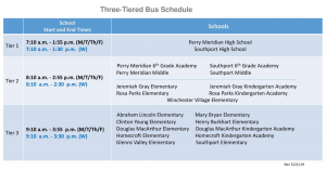 three tier bus schedule