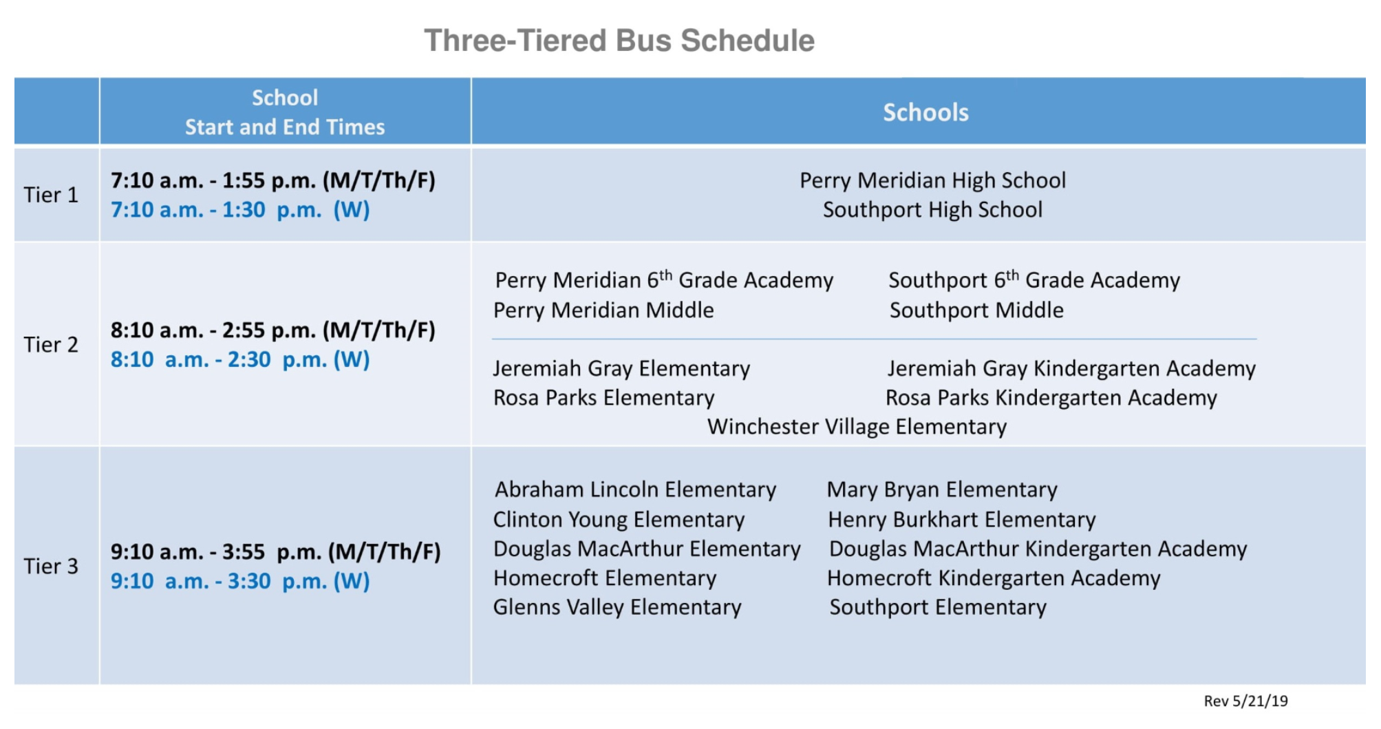 three tier bus schedule