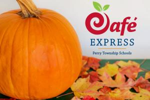 Pumpkin next to Cafe Express Logo