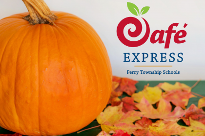 Pumpkin next to Cafe Express Logo