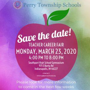 Save the date apple with teacher fair information