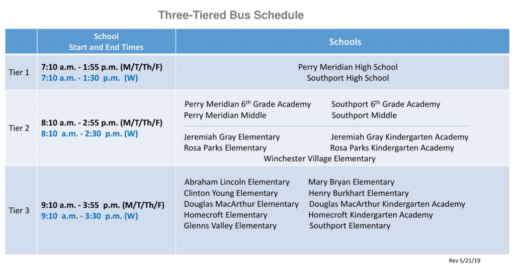 Bus 3 tier schedule