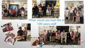 2nd graders dressed up as if they were 100 years old - celebrating 100th day of school